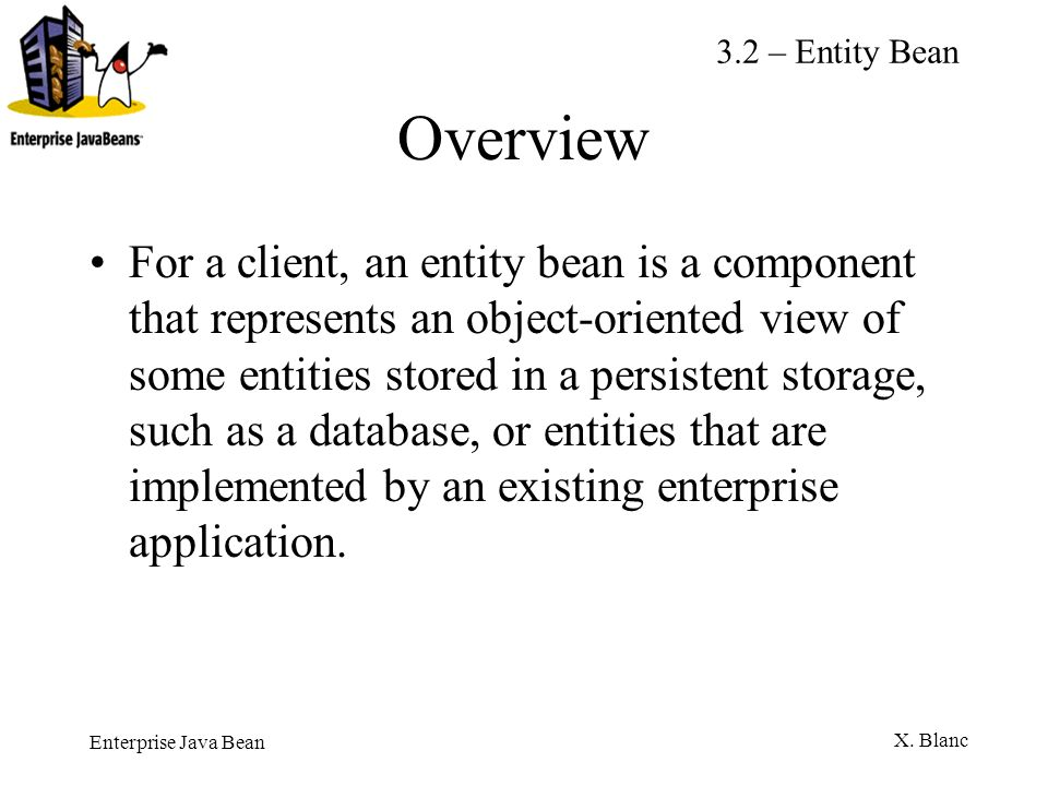 3.2 – Entity Bean Overview.
