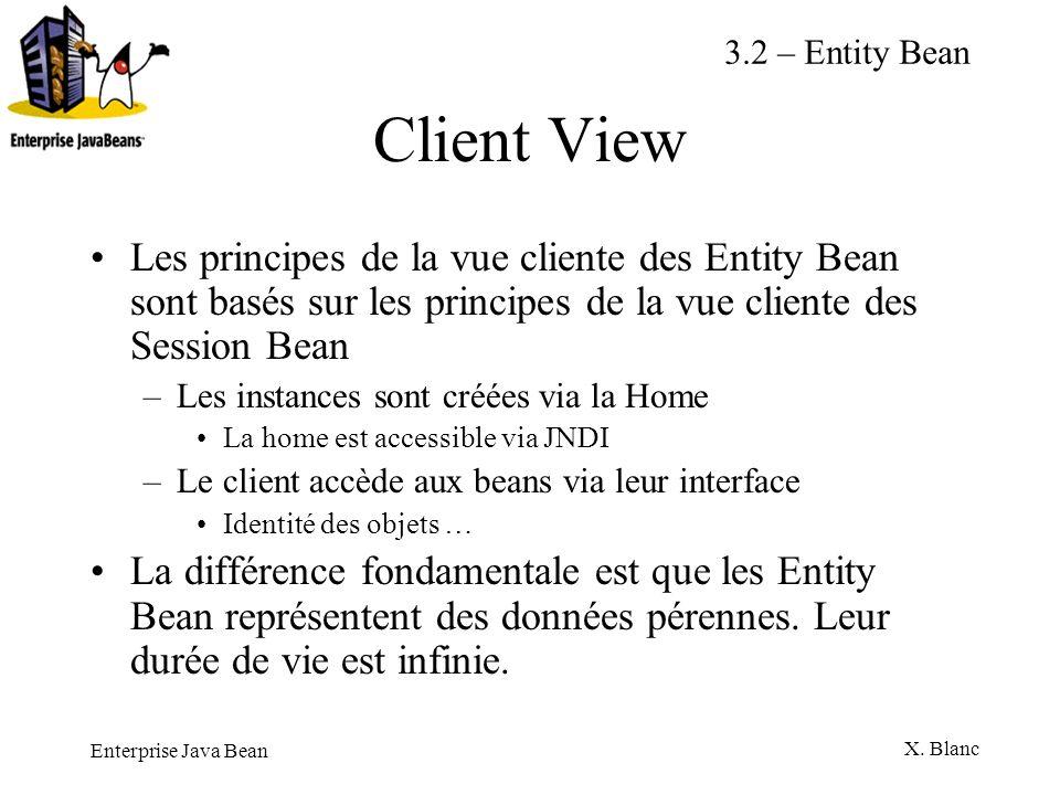 3.2 – Entity BeanClient View. Les principes de la vue cliente des Entity Bean sont basés sur les principes de la vue cliente des Session Bean.