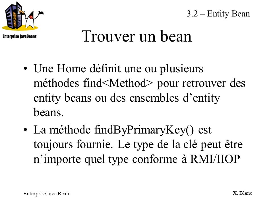 3.2 – Entity Bean Trouver un bean.
