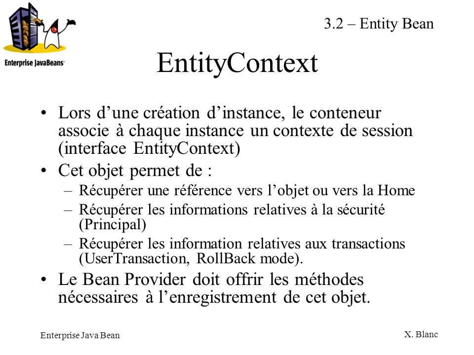 3.2 – Entity Bean EntityContext.