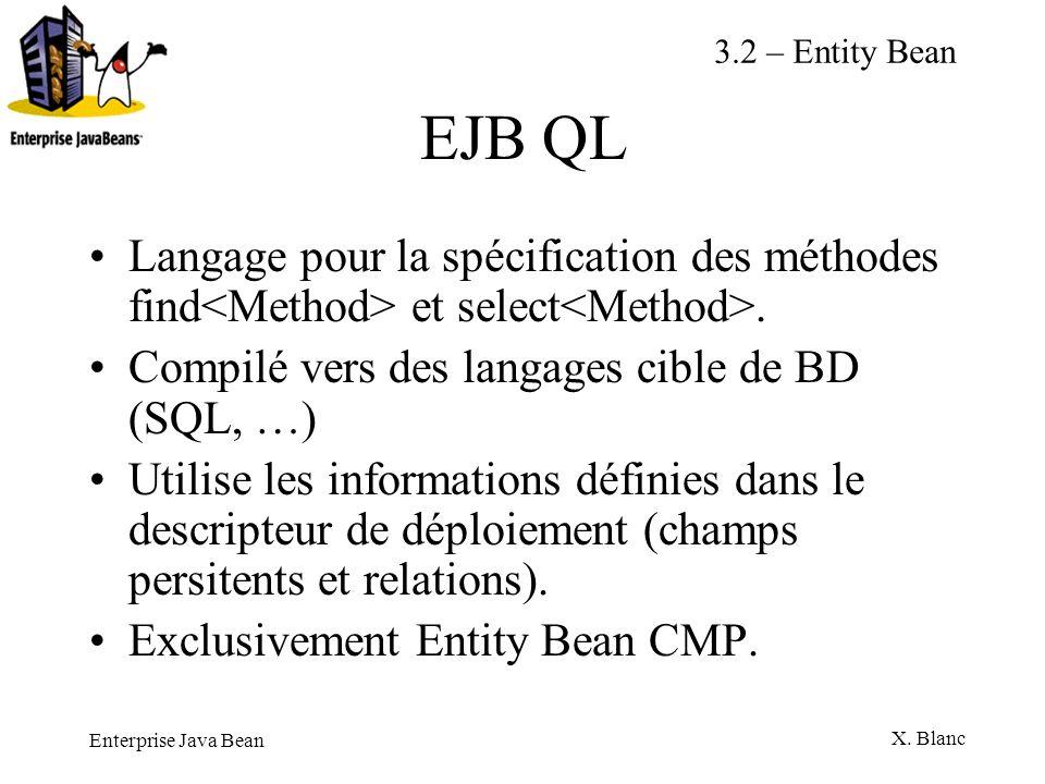 3.2 – Entity BeanEJB QL. Langage pour la spécification des méthodes find<Method> et select<Method>.
