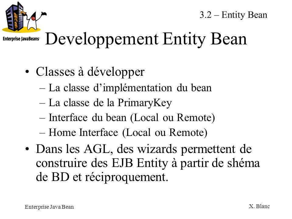 Developpement Entity Bean