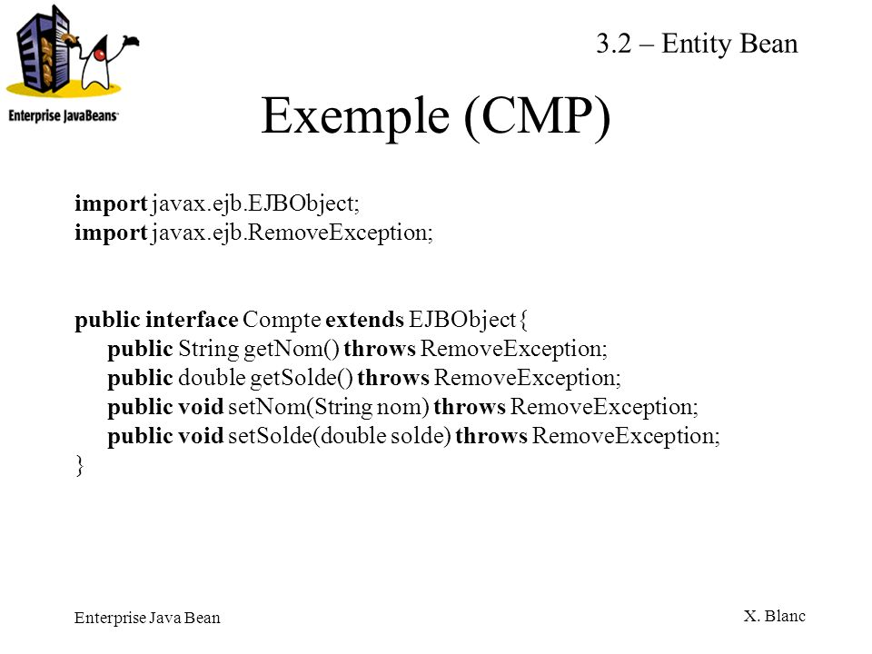 Exemple (CMP) 3.2 – Entity Bean import javax.ejb.EJBObject;