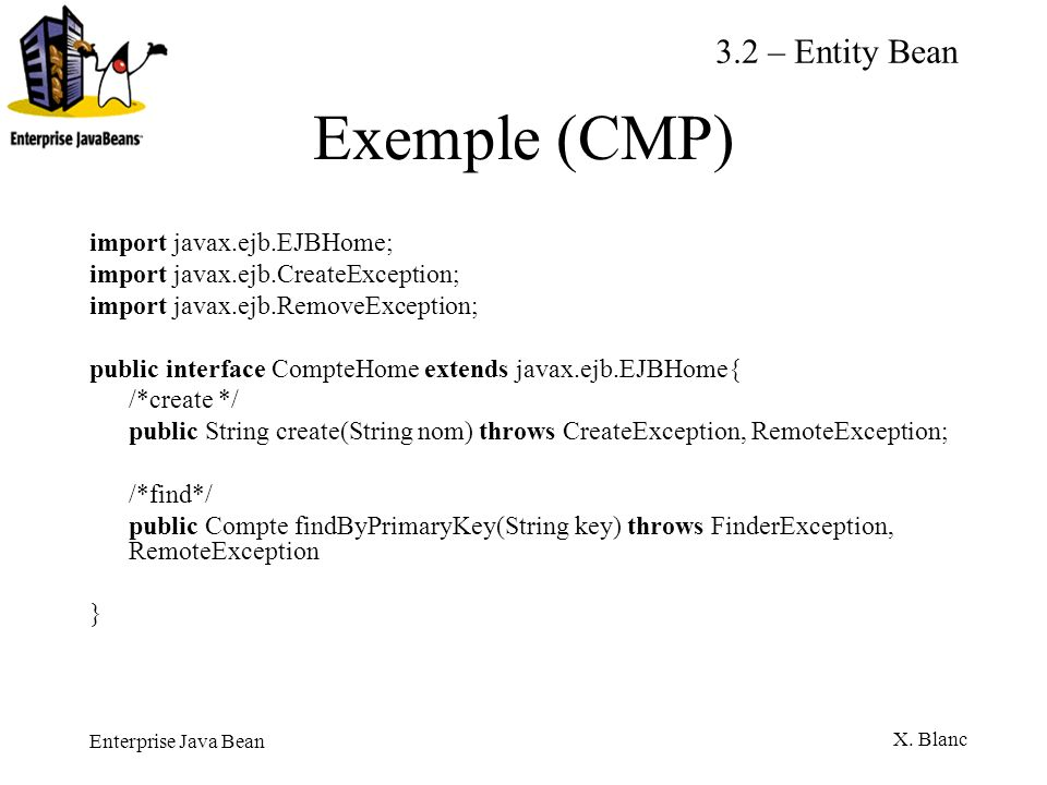 Exemple (CMP) 3.2 – Entity Bean import javax.ejb.EJBHome;