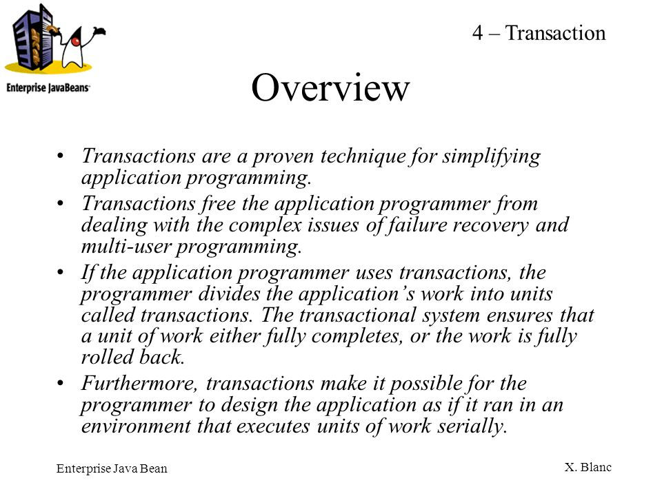 Overview 4 – Transaction
