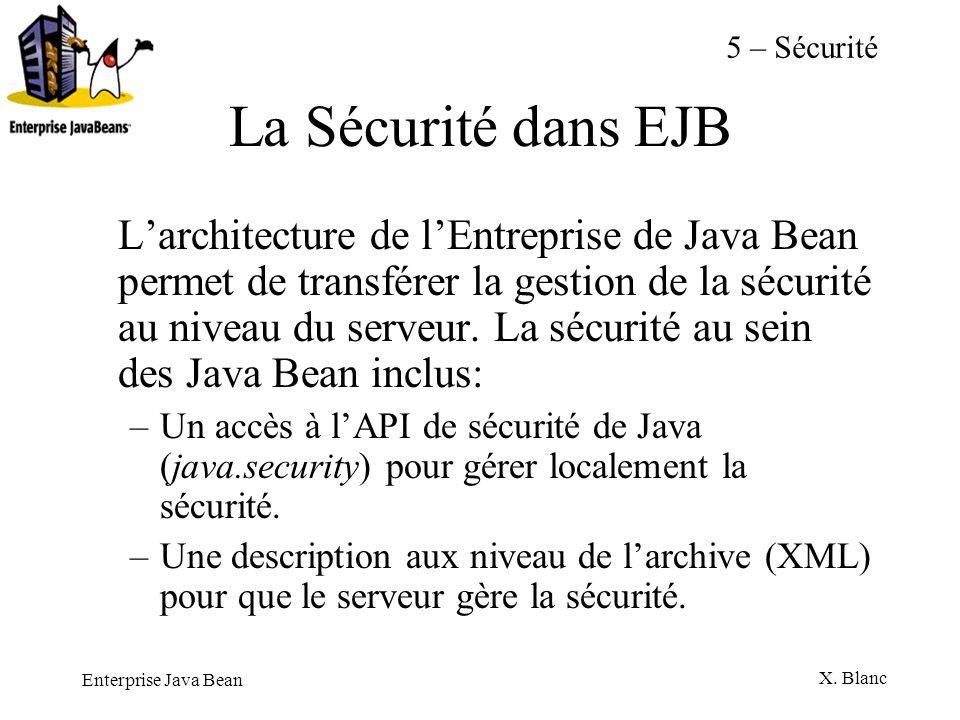 5 – SécuritéLa Sécurité dans EJB.
