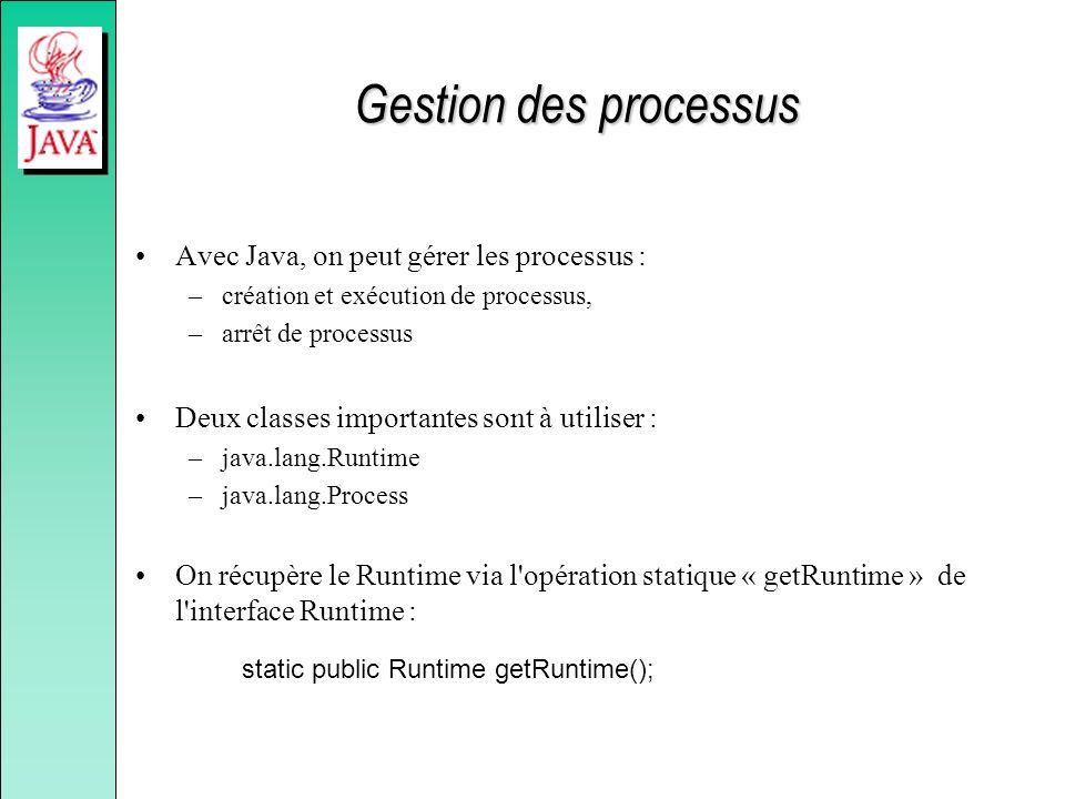 Gestion des processus Avec Java, on peut gérer les processus :