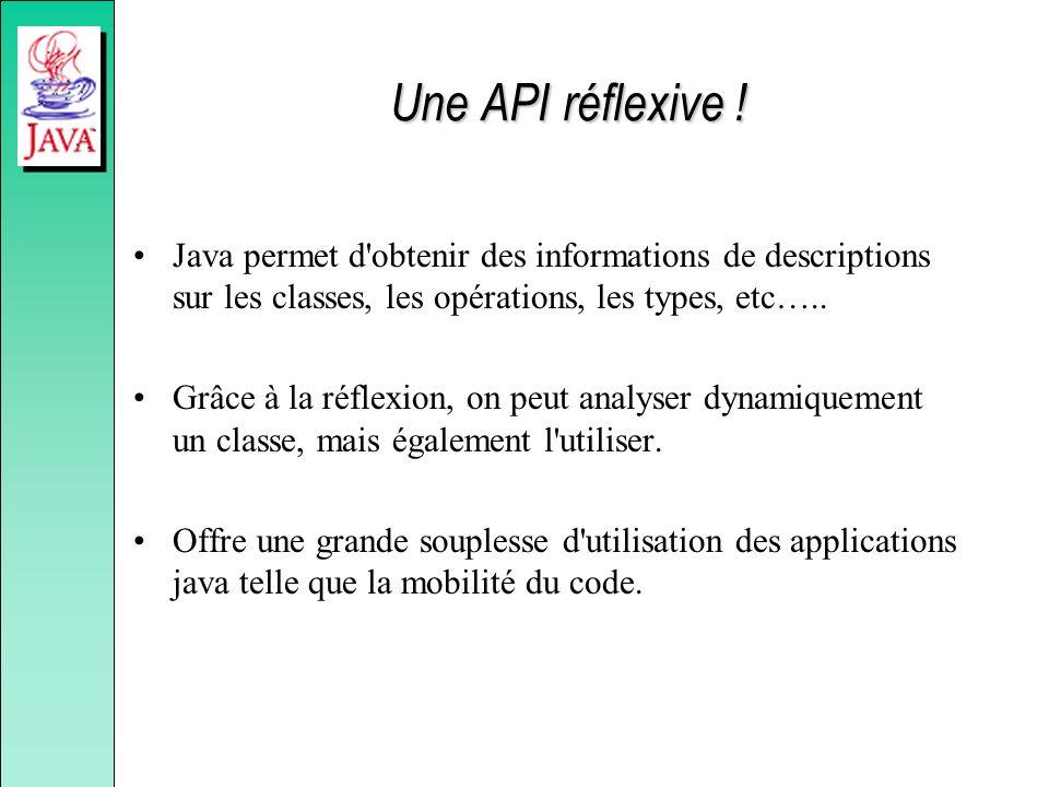 Une API réflexive ! Java permet d obtenir des informations de descriptions sur les classes, les opérations, les types, etc…..