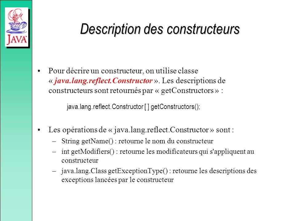 Description des constructeurs