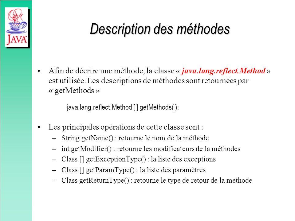 Description des méthodes