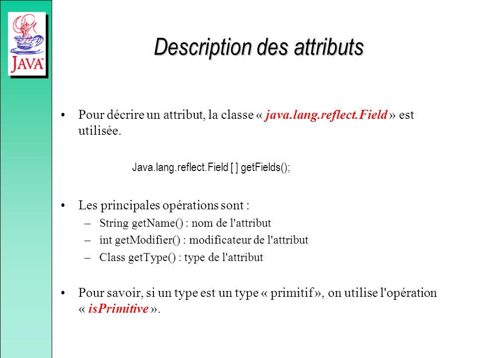 Description des attributs