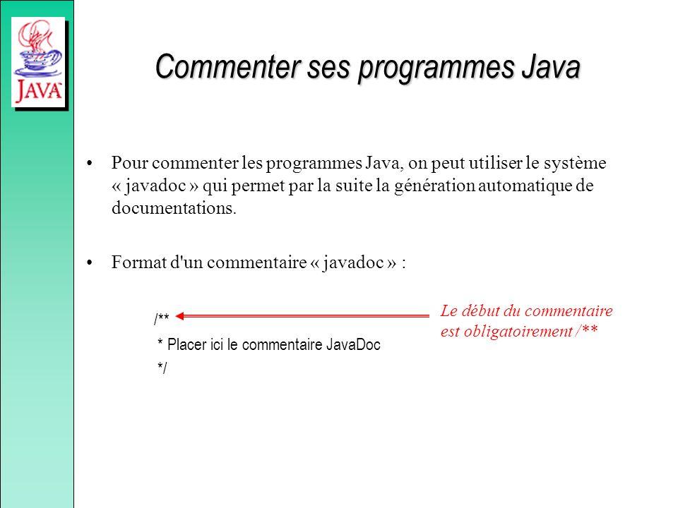 Commenter ses programmes Java