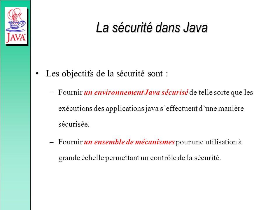 La sécurité dans Java Les objectifs de la sécurité sont :