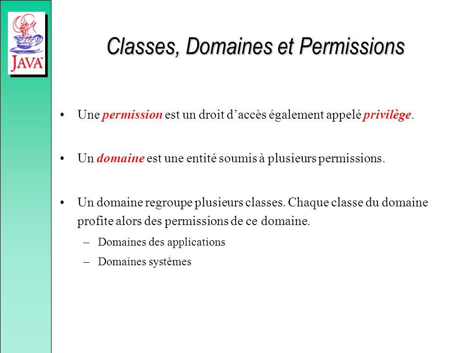 Classes, Domaines et Permissions