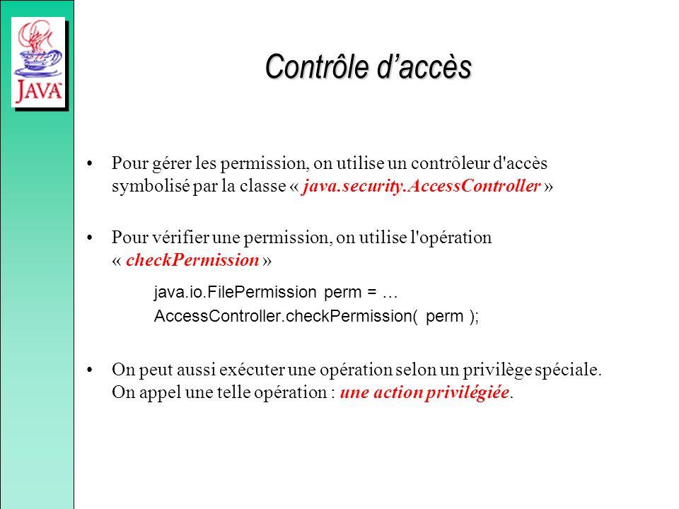 Contrôle d'accès Pour gérer les permission, on utilise un contrôleur d accès symbolisé par la classe « java.security.AccessController »