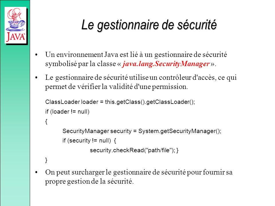 Le gestionnaire de sécurité