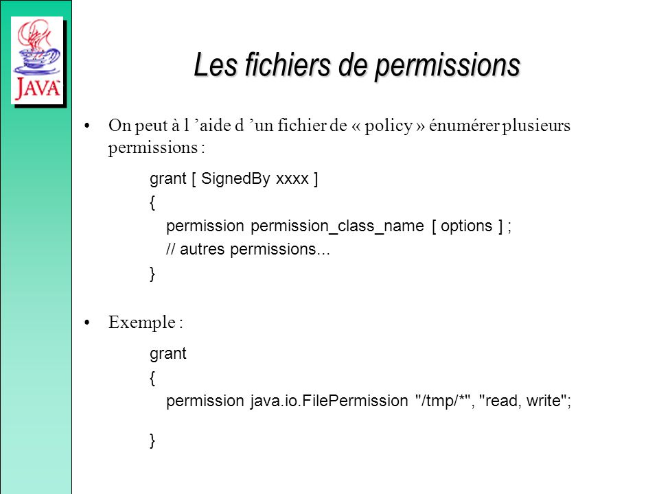 Les fichiers de permissions