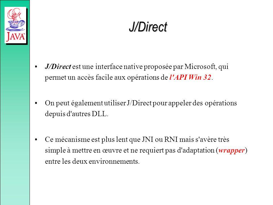 J/Direct J/Direct est une interface native proposée par Microsoft, qui permet un accès facile aux opérations de l API Win 32.