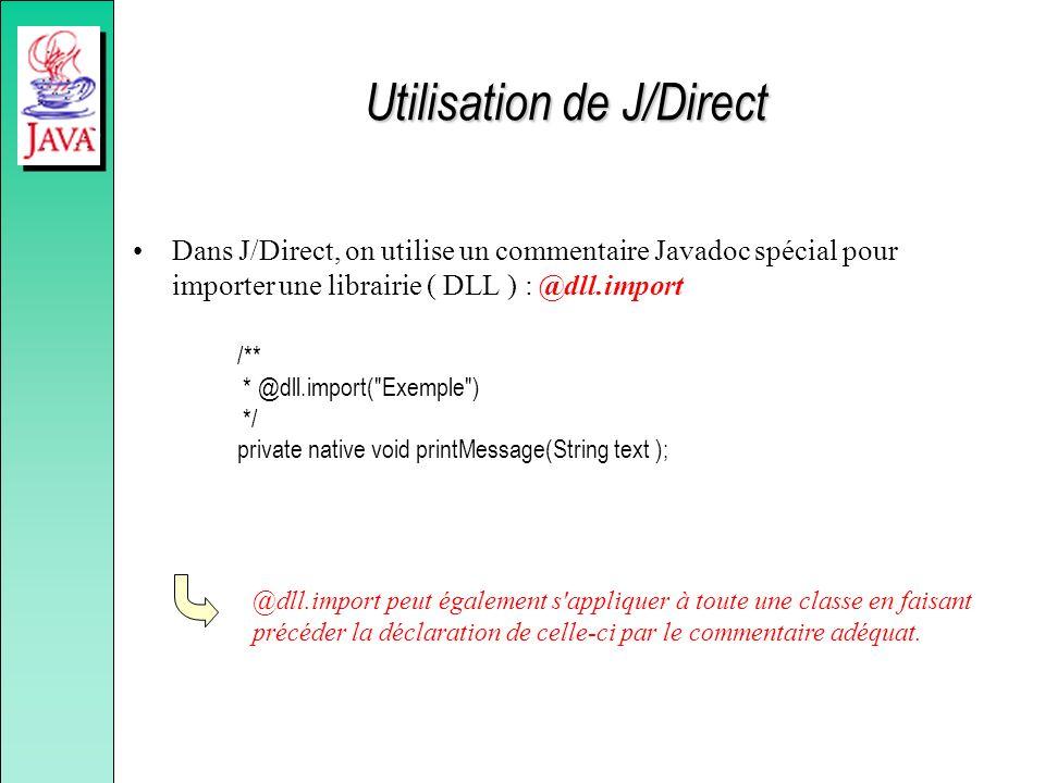 Utilisation de J/Direct