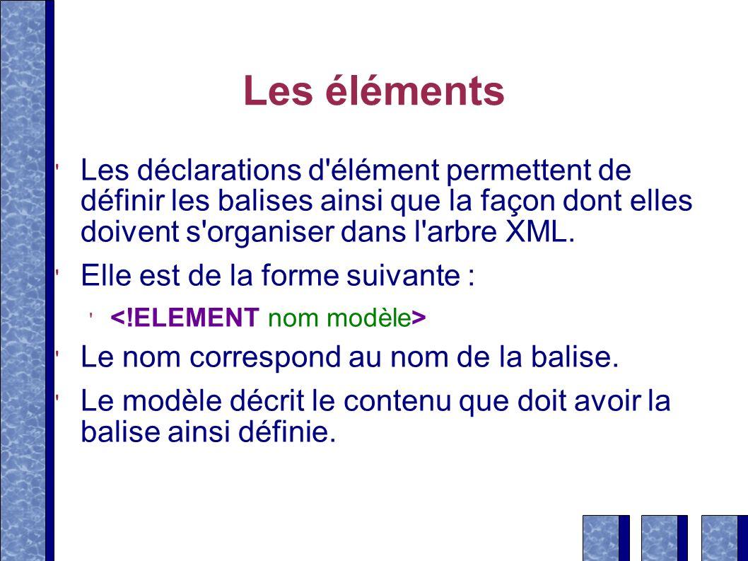 Les éléments Les déclarations d élément permettent de définir les balises ainsi que la façon dont elles doivent s organiser dans l arbre XML.