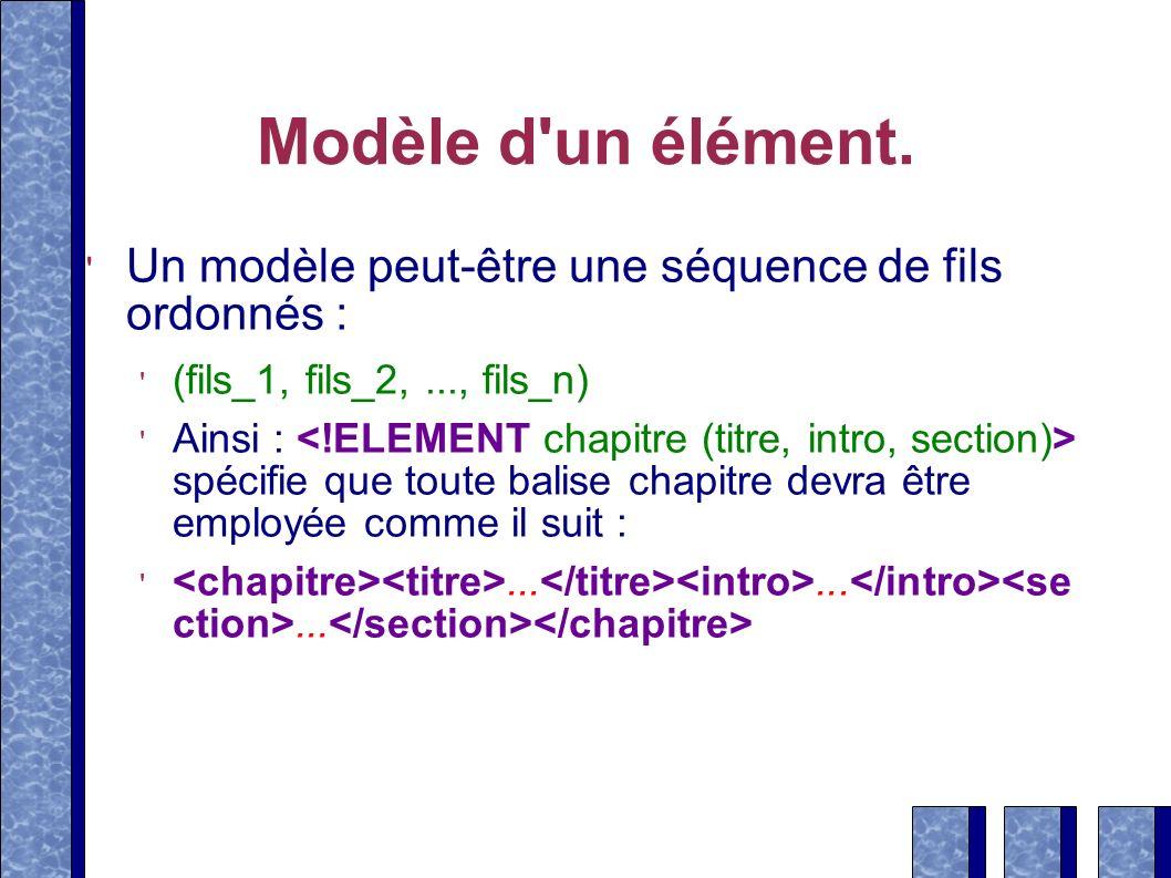 Modèle d un élément.Un modèle peut-être une séquence de fils ordonnés : (fils_1, fils_2, ..., fils_n)