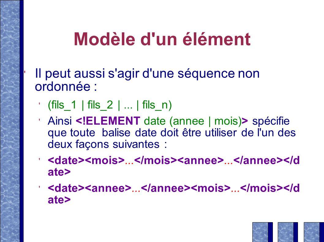 Modèle d un élément Il peut aussi s agir d une séquence non ordonnée :