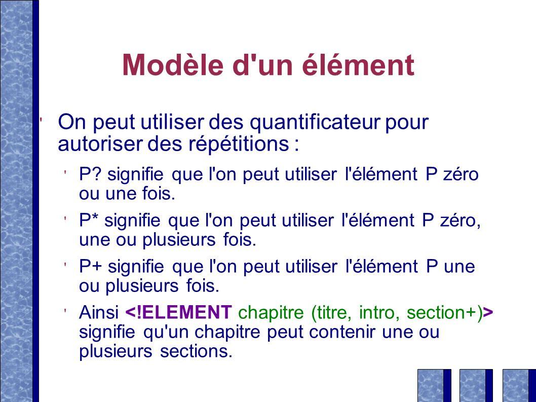 Modèle d un élémentOn peut utiliser des quantificateur pour autoriser des répétitions :