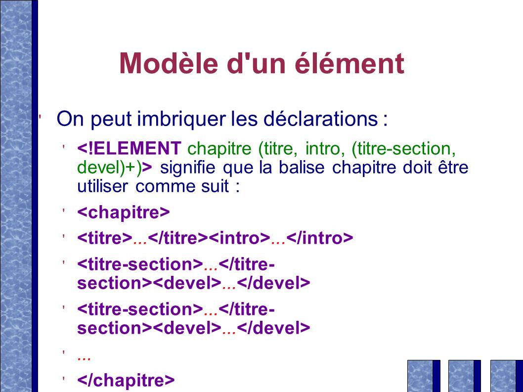 Modèle d un élément On peut imbriquer les déclarations :
