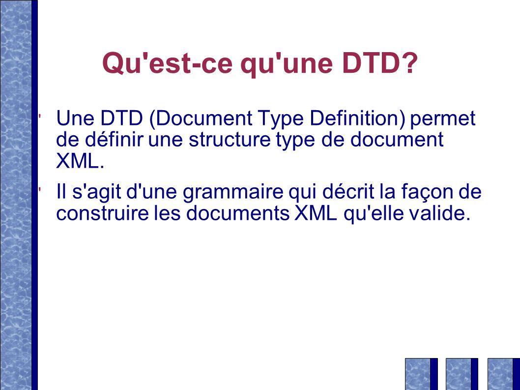 Qu est-ce qu une DTD Une DTD (Document Type Definition) permet de définir une structure type de document XML.