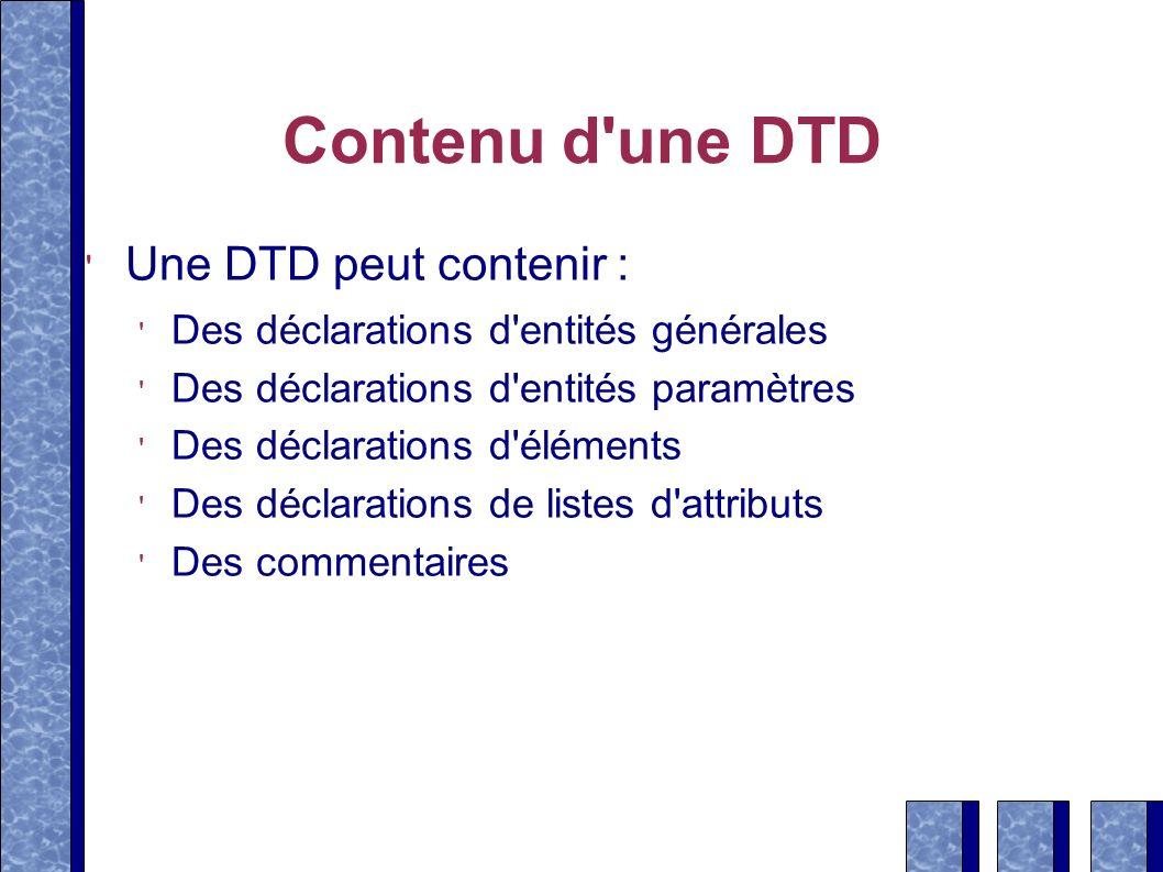 Contenu d une DTD Une DTD peut contenir :