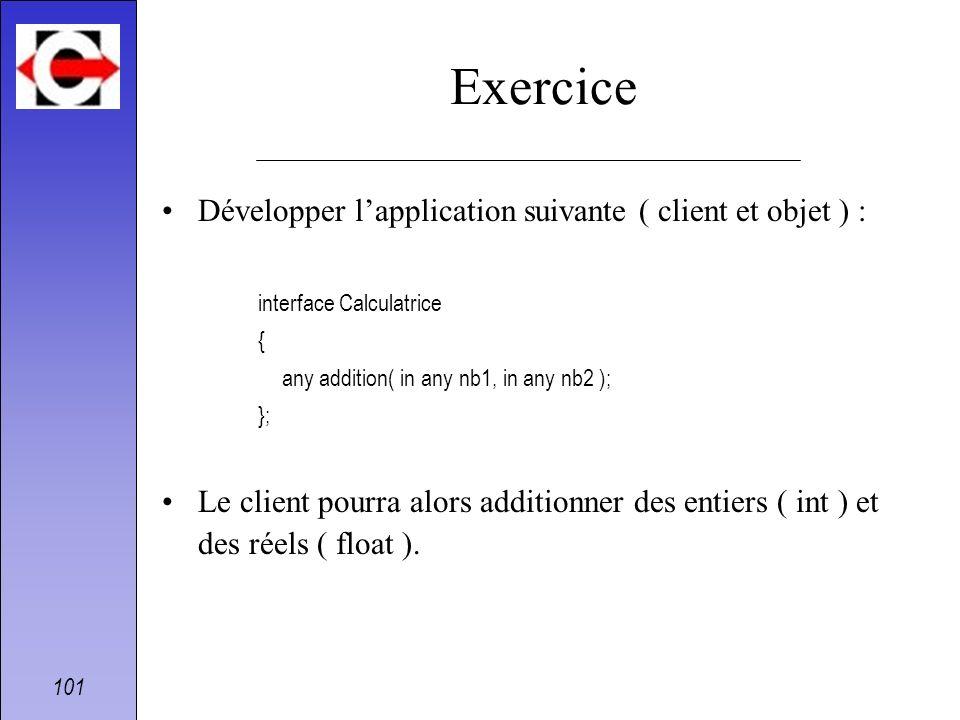 Exercice Développer l'application suivante ( client et objet ) :
