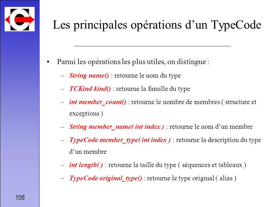 Les principales opérations d'un TypeCode