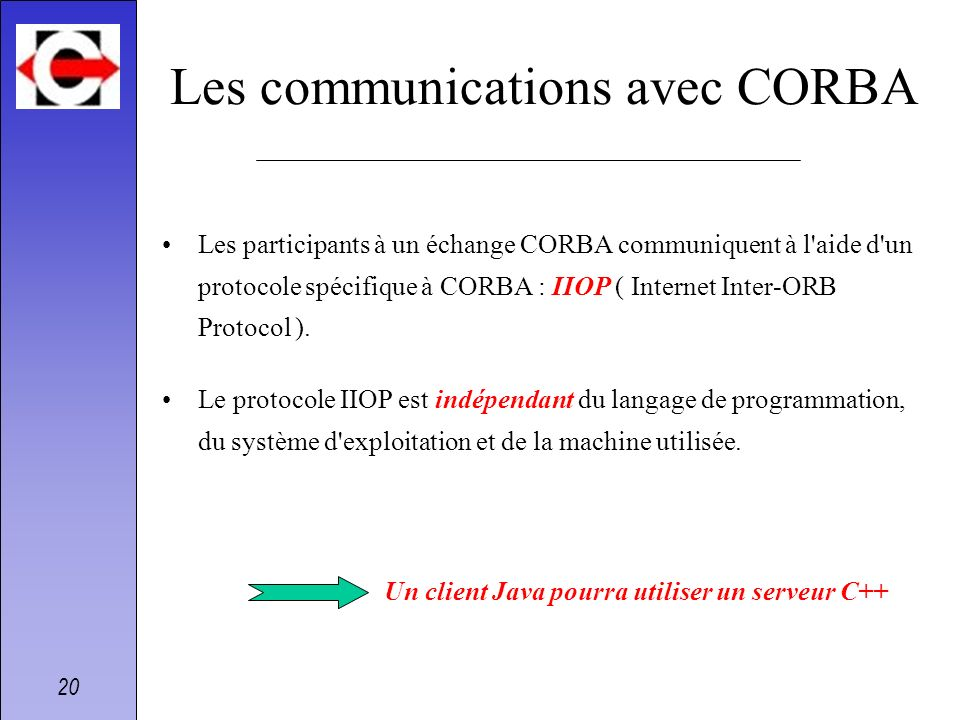 Les communications avec CORBA