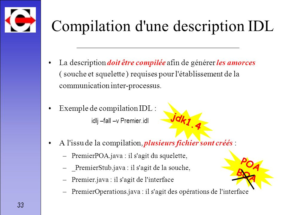 Compilation d une description IDL