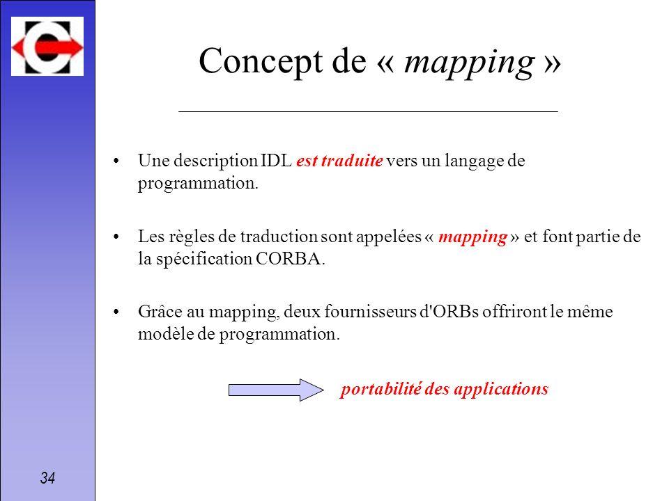 Concept de « mapping »Une description IDL est traduite vers un langage de programmation.