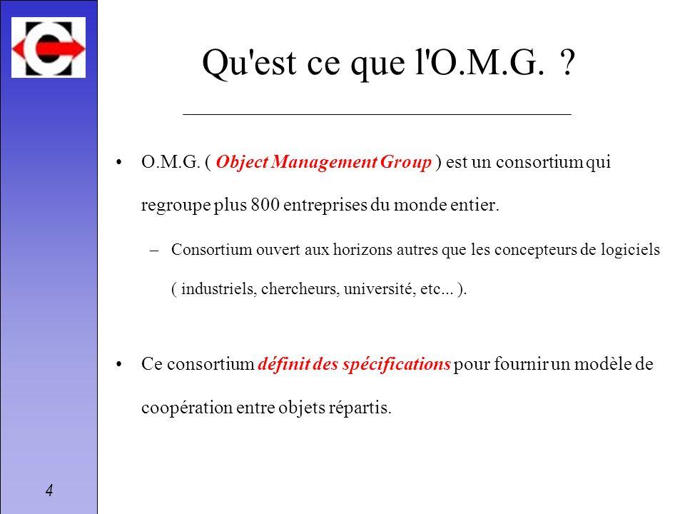 Qu est ce que l O.M.G. O.M.G. ( Object Management Group ) est un consortium qui regroupe plus 800 entreprises du monde entier.