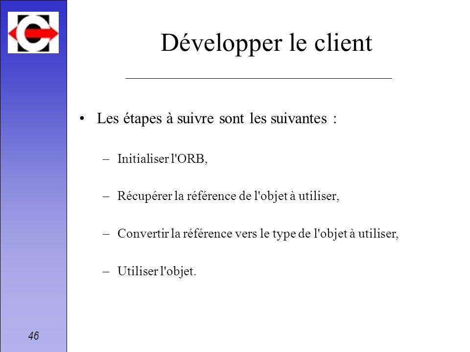 Développer le client Les étapes à suivre sont les suivantes :
