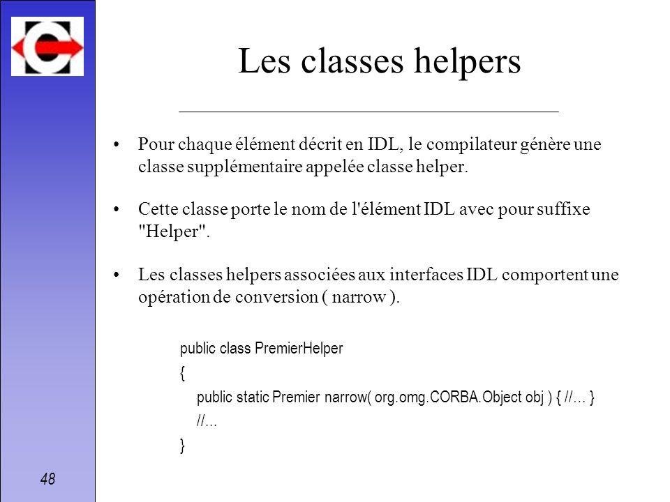 Les classes helpersPour chaque élément décrit en IDL, le compilateur génère une classe supplémentaire appelée classe helper.