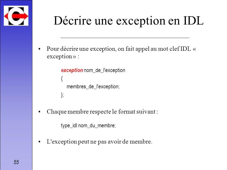 Décrire une exception en IDL