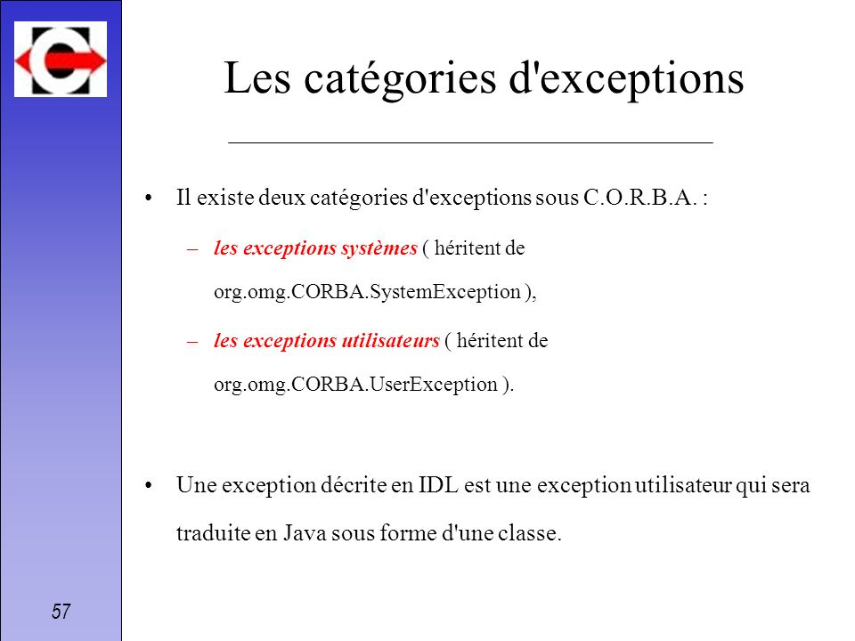 Les catégories d exceptions