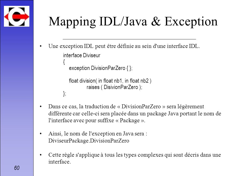 Mapping IDL/Java & Exception