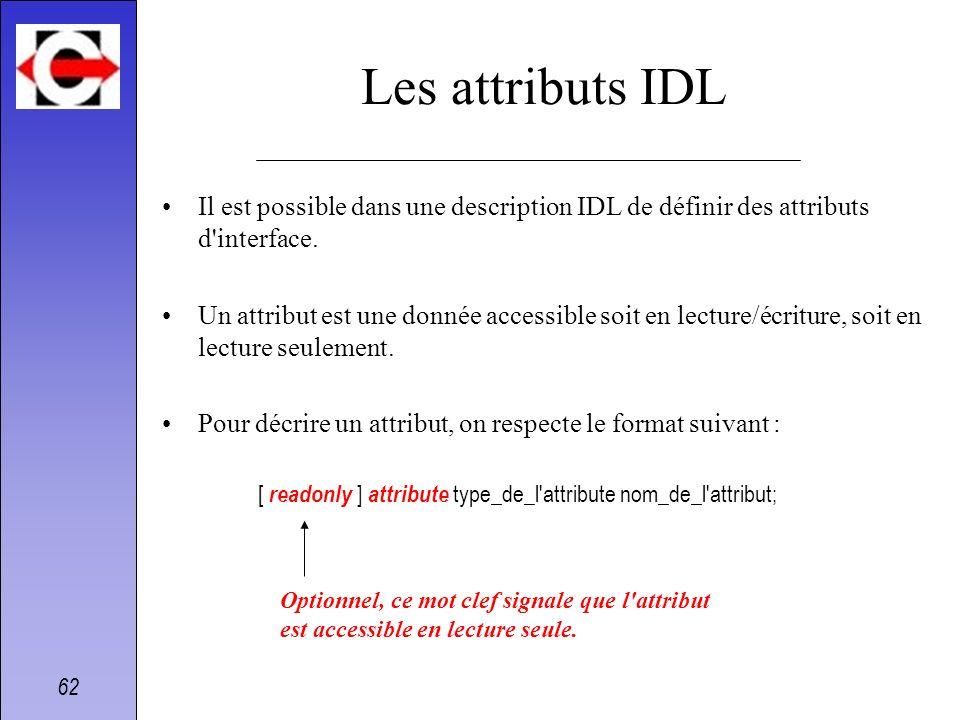 Les attributs IDLIl est possible dans une description IDL de définir des attributs d interface.