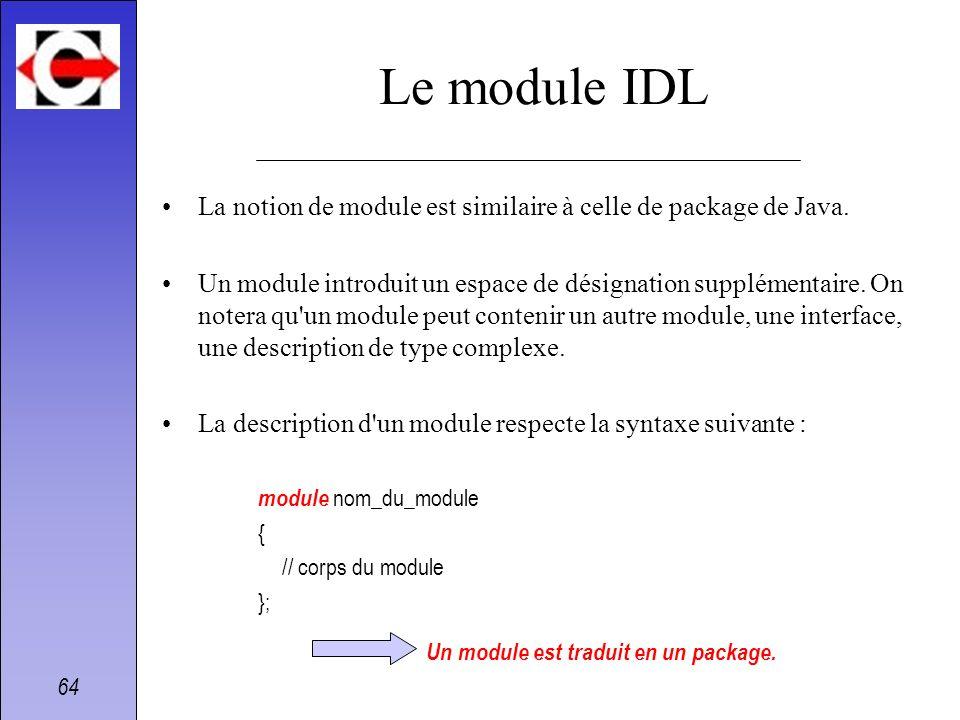 Le module IDLLa notion de module est similaire à celle de package de Java.