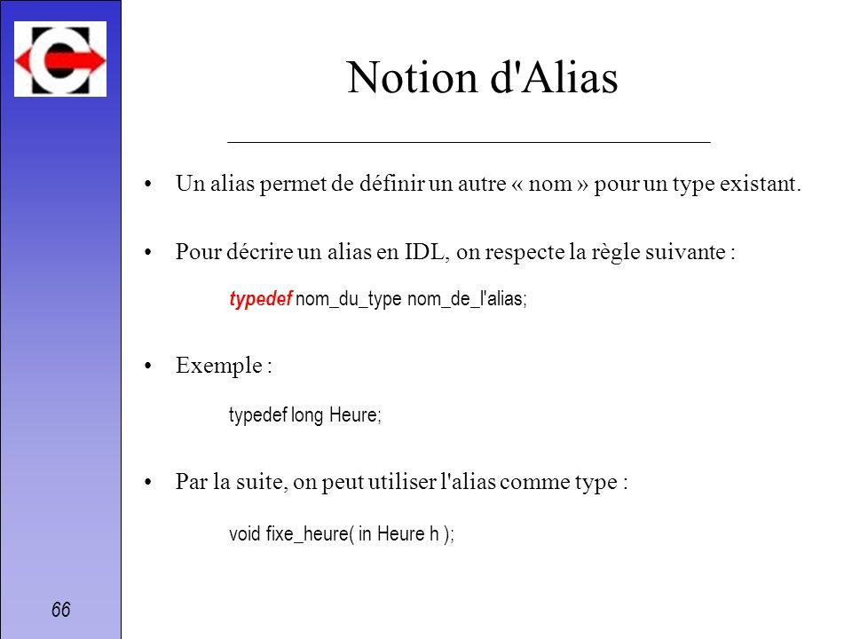 Notion d AliasUn alias permet de définir un autre « nom » pour un type existant. Pour décrire un alias en IDL, on respecte la règle suivante :