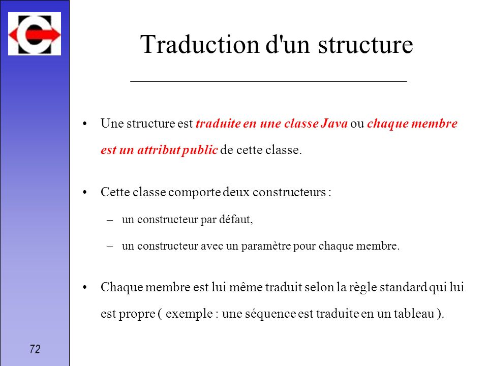 Traduction d un structure