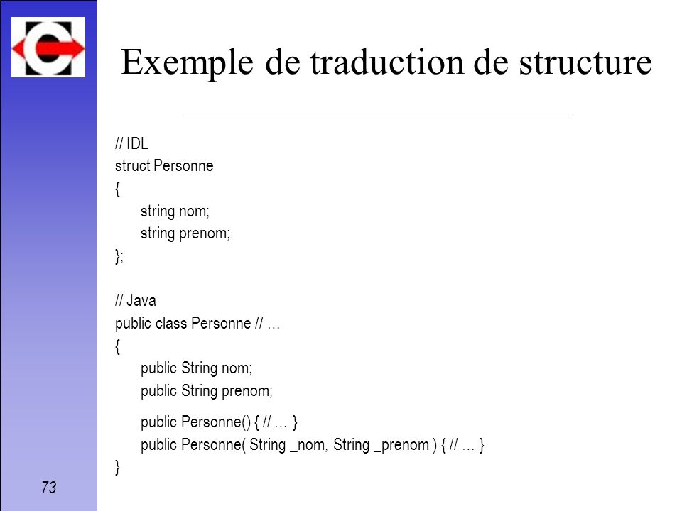 Exemple de traduction de structure