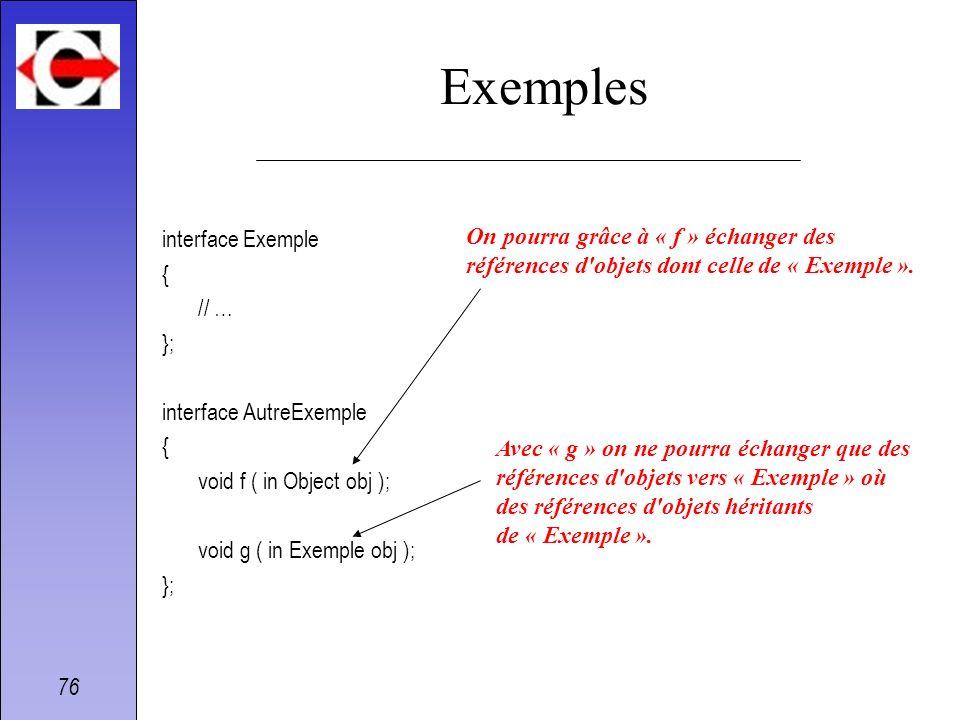 Exemples interface Exemple { On pourra grâce à « f » échanger des // …