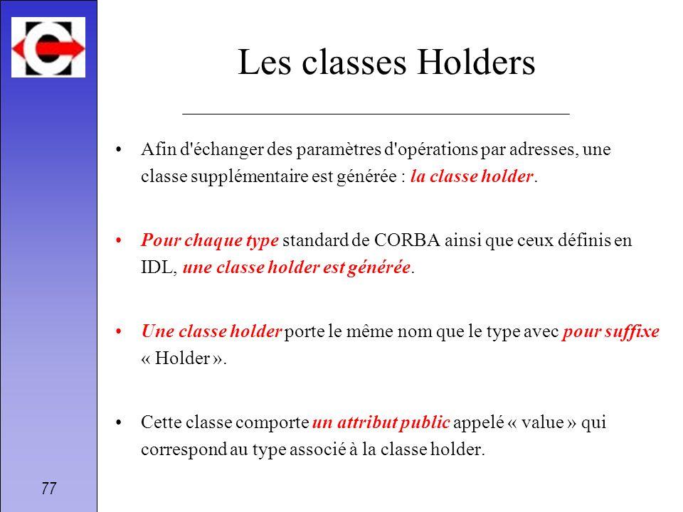 Les classes Holders Afin d échanger des paramètres d opérations par adresses, une classe supplémentaire est générée : la classe holder.