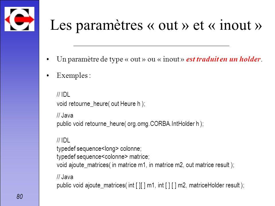 Les paramètres « out » et « inout »