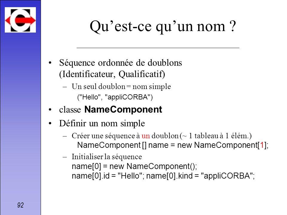 Qu'est-ce qu'un nom Séquence ordonnée de doublons (Identificateur, Qualificatif) Un seul doublon = nom simple.